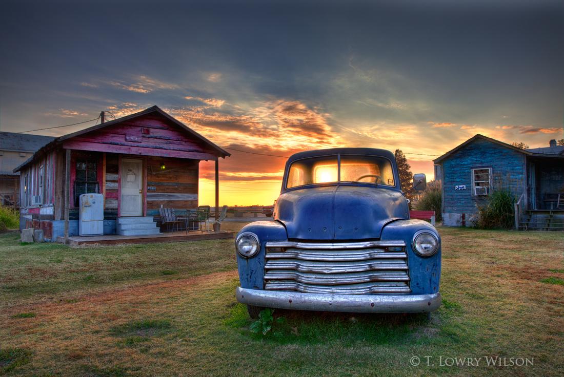 Old blue chevrolet truck in Mississippi Delta at Shackup Inn